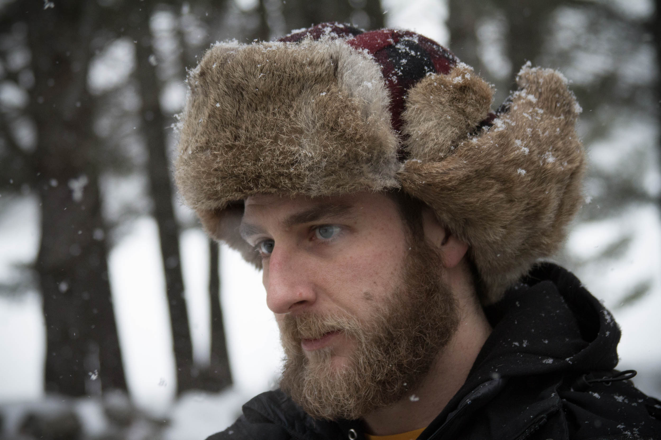 1st assistant director david woolner during the first snowy days of the shoot.