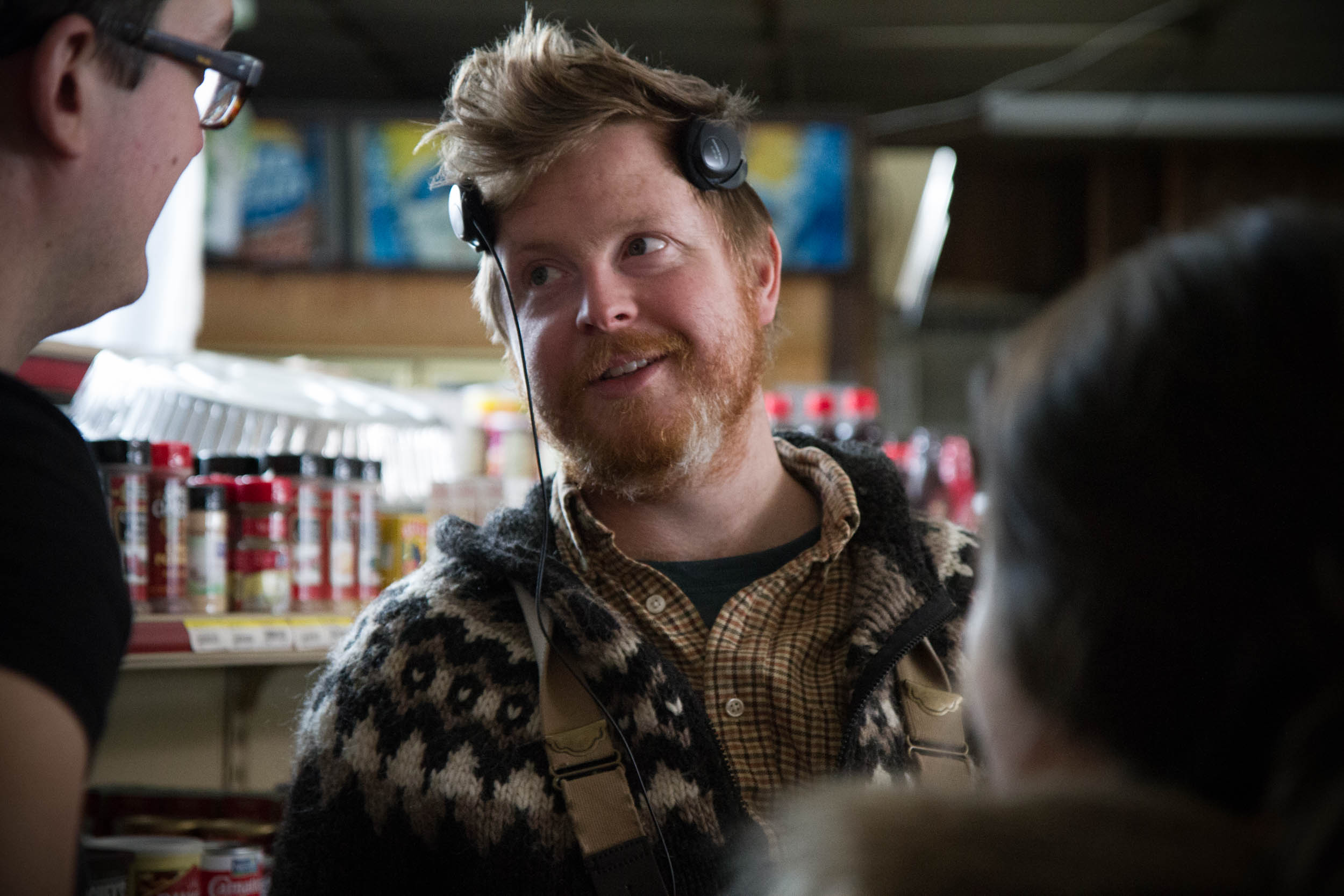 production designer james bolenbaugh and director kris thor in the supermarket